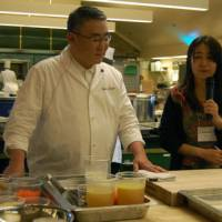 A dash of Japanese culture: Four Michelin-star Japanese chef Kunio Tokuoka (left) takes part in the Culinary Institute of America's 13th Worlds of Flavor conference in Napa Valley, California. | MELINDA JOE PHOTOS