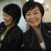 Akie Abe, wife of Shinzo Abe, is interviewed in the prime minister's office Thursday. | REUTERS