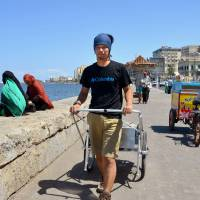 Masahito Yoshida sets out Sunday in Alexandria, Egypt, on a trek that will take him all the way to the Cape of Good Hope in South Africa.   KYODO