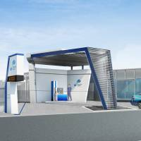 An artist's rendering shows a hydrogen station that Toyota Tsusho Corp. plans to set up in Atsuta Ward, Nagoya. | TOYOTA TSUSHO CORP.