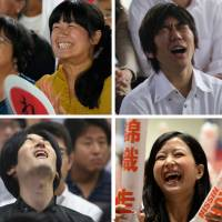 Fans at public viewings across Japan — from a tennis-themed bar in Tokyo to a public facility in Shimane, Mie Prefecture — experience the brief thrill of a possible victory but mostly the agony of defeat as Kei Nishikori attempted in vain to capture his first Grand Slam title at the U.S. Open. | BLOOMBERG/AP