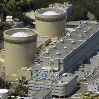 The No. 1 (left) and No. 2 reactors at Kansai Electric Power Co.'s Mihama nuclear power plant in Fukui Prefecture are shown in May 2013. | KYODO