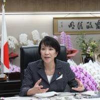 Sanae Takaichi, the newly appointed internal affairs and communications minister, is interviewed in Tokyo on Friday. | MASAAKI KAMEDA