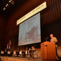 Matthew C. Perry, a descendant of Commodore Matthew Perry, whose Black Ships opened up Japan to the West in the 19th century, addresses a session on the history of U.S.-Japan relations at the 9th International Symposium of Japan-America Societies in Sapporo last Saturday. | COURTESY OF THE AMERICA-JAPAN SOCIETY OF HOKKAIDO