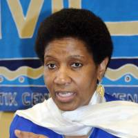 Phumzile Mlambo-Ngcuka, head of U.N. Women, gives an interview at United Nations headquarters in New York on Tuesday.   KYODO