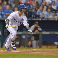 In the groove: Kansas City's Norichika Aoki watches his double against Chicago in the first inning on Wednesday night. | REUTERS/USA TODAY SPORTS
