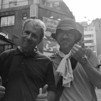 Hanging in there: Mark Schilling (left) and director Shinji Imaoka in Shinjuku in 2014. | MIRI MATSUFUJI