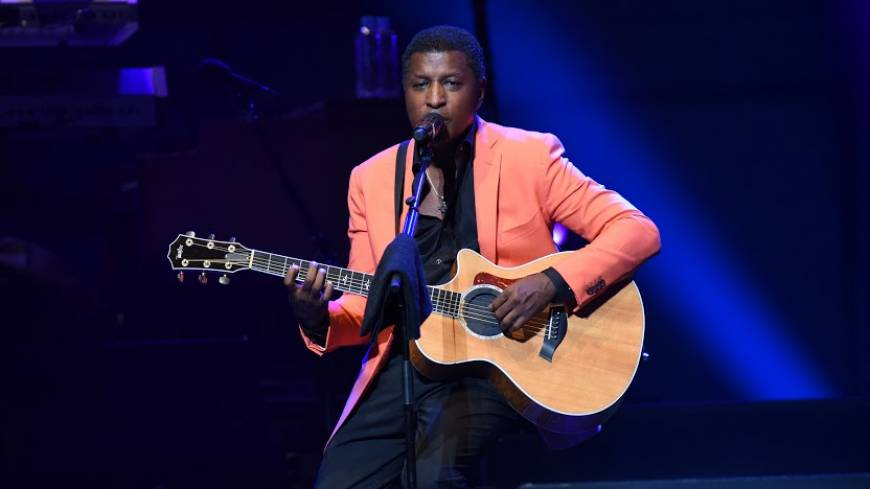 All that jazz: Kenny 'Babyface' Edmonds plays guitar at the main Hall stage of the Tokyo International Forum as part of the Tokyo Jazz Festival on Saturday. | © TOKTO JAZZ FESTIVAL, PHOTO BY HIDEO NAKAJIMA