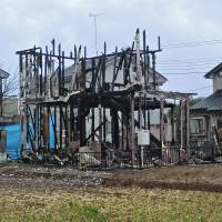 Still standing — just: This house in northern Chiba Prefecture had been vacant for a number of years before it burned down last March. The cause of the fire is still not known. | PHILIP BRASOR