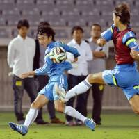 Service ace: Midfielder Gaku Shibasaki is expected to make his national team debut against Venezuela on Tuesday. | KYODO