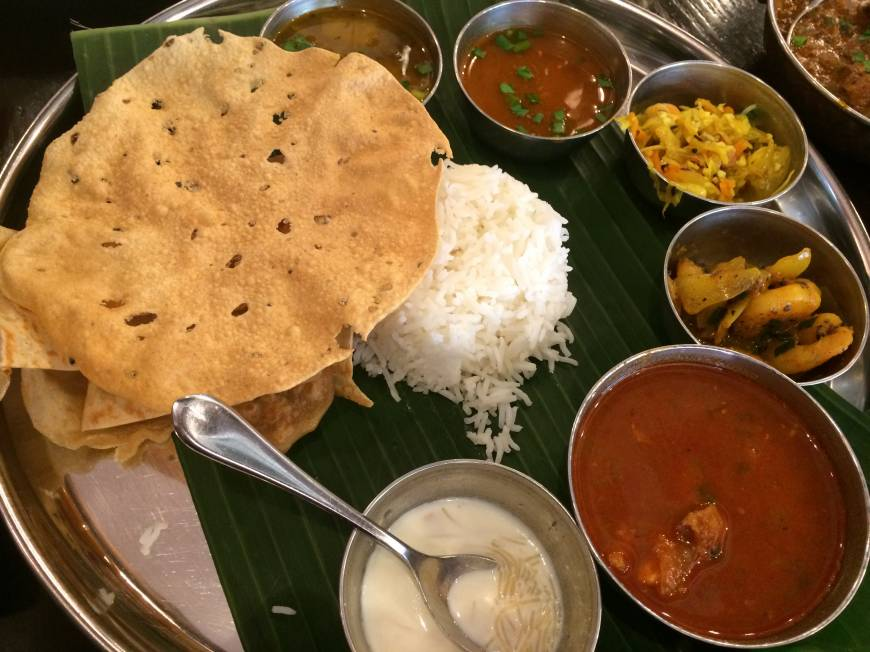 The generous lunch set at Anhdra Kitchen, served on a banana leaf. | ALEX DUTSON