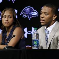 Fallout continues: Baltimore Ravens running back Ray Rice and wife Janay spoke at a news conference on May 23 in Owings Mills, Maryland, following his arrest for domestic violence. | AP