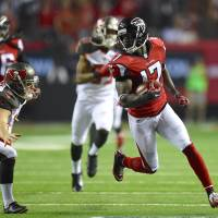 Running into history: Atlanta's Devin Hester returns a punt 62 yards for a touchdown against Tampa Bay on Thursday. | REUTERS/USA TODAY SPORTS