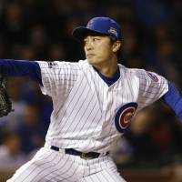 Bullpen blows it: Chicago's Tsuyoshi Wada throws a pitch against Los Angeles in the first inning on Thursday night. The Dodgers beat the Cubs 8-4. | AP