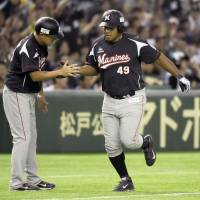 Picking up where he left off: Alfredo Despaigne homered for the Chiba Lotte Marines in his first game back in the lineup after feeling discomfort in his side. | KYODO