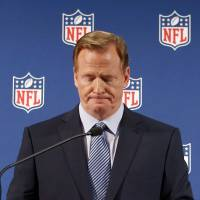 Litany of errors: NFL commissioner Roger Goodell pauses as he speaks during a news conference in New York on Friday. | AP
