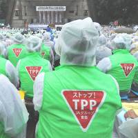 Vampire squid: Members of JA, the nationwide network of agricultural cooperatives, protest the Trans-Pacific Partnership at a rally in Tokyo last year. | AFP-JIJI