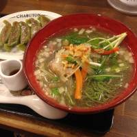 Meat-free meal: Vege-ramen and gyōza dumplings at Chabuton. | ANANDA JACOBS