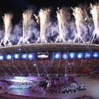 The party to get it started: Fireworks lit up the night in Incheon, South Korea, for the start of the Asian Games on Friday. | KYODO