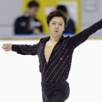 Local favorite: Shoma Uno performs in the men's free skate at the Aichi Junior Grand Prix on Sunday. Uno placed second with 219.99 points.   KYODO
