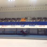 View from the arena: Fans watch Saturday's Junior Grand Prix competition at Morikoro Park Skating Rink in Nagoya. | JACK GALLAGHER