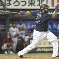 Gimme some Mo: Orix slugger Willy Mo Pena hits a two-run home run in the eighth inning of the Buffaloes' 6-0 win over the Eagles on Wednesday. | KYODO