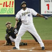 Going, going, gone: Orix's Willy Mo Pena watches his three-run home run during the eighth inning of the Buffaloes' 10-4 win over the Hawks on Wednesday. | KYODO