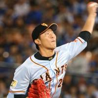 Solid work: Giants southpaw Tetsuya Utsumi allowed three runs in 7-2/3 innings on Friday against the BayStars. | KYODO