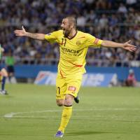 First blood: Kashiwa Reysol striker Leandro celebrates scoring his side's first goal in a 2-1 Nabisco Cup quarterfinal first-leg win over Yokohama F. Marinos on Wednesday night. | KYODO
