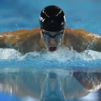 Main man: Kosuke Hagino competes in the final of the 400-meter individual medley at the Asian Games in Incheon, South Korea, on Wednesday. Hagino won the event for his fourth gold medal of the games. | AFP-JIJI