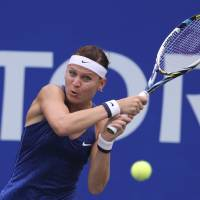 Off to a good start: Lucie Safarova plays a shot against Madison Keys during their match at the Pan Pacific Open on Monday. | AP