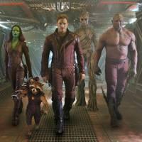 On guard: Gamora, Rocket, Peter, Groot and Drax get ready to do battle in the film 'Guardians of the Galaxy.' | © MARVEL 2014