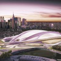 An illustration of the futuristic-looking Olympic Stadium, the main venue planned for the 2020 Tokyo Games | AP