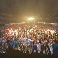 Class of 2014: The participants and performers from the Moshi Moshi Nippon music and fashion event in Tokyo pose for a final group shot. The event's organizers decided to allow non-Japanese fans into the showcase, which included a set by popular singer Kyary Pamyu Pamyu, for free.