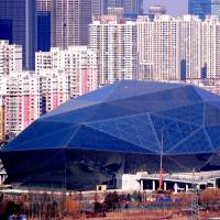 The Shenyang Culture and Art center in Liaoning province, in northeast China, is seen in this photo taken on March 1. In remarks carried by state media last Thursday, Chinese President Xi Jinping told artists not to chase popularity with 'vulgar' works but to promote socialist ideals instead. | AFP-JIJI