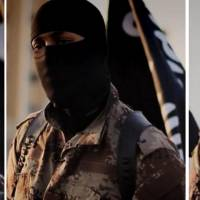 This combination of images released Tuesday by the FBI shows an English-speaking individual who appears in a propaganda video released in September by the Islamic State. The FBI is seeking information on the man, whose face is obscured by a mask and alternates seamlessly between English and Arabic in pro-Islamic State pronouncements intended to appeal to a Western audience. Dressed in desert camouflage and wearing a shoulder holster, the masked man can be seen standing in front of purported prisoners as they dig their own graves and then later presiding over their executions. The man has what is believed to be a North American accent. | AFP-JIJI