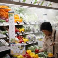 A customer shops for vegetables at an Aeon Co. supermarket in Chiba on April 1. | BLOOMBERG