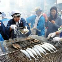 Vendors grill saury at the annual 'sanma' festival in Meguro Ward, Tokyo, on Sept. 7. The seasonal delight, shipped from Miyako, Iwate Prefecture, was served to visitors for free. | YOSHIAKI MIURA