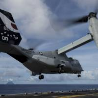 An MV-22 Osprey launches from the amphibious assault ship USS Makin Island on Aug. 16 in this photo provided by the U.S. Navy. A crewman was killed when one of the tilt-rotor aircraft lost power shortly after takeoff last month, the first American fatality in ongoing military operations against Islamic State militants in Iraq and Syria. | REUTERS