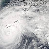 A Moderate Resolution Imaging Spectroradiometer image taken by NASA's Aqua satellite shows Typhoon Vongfong approaching Japan's main islands on Saturday. | NASA/REUTERS