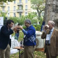 Salute: Guests drink at the Milano Sake Festival (Marco Massarotto center-left, with brown curly hair). | MELINDA JOE