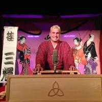 One of a kind: Katsura Sunshine, the only officially qualified non-Japanese rakugo professional, pictured in action at this year's Edinburgh Fringe Festival. | TOM SMITH