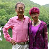 Harmonious partnerships: Susumu and Yasuko Shingu at the pond behind the Shingu studio in Sanda, Hyogo Prefecture. | SHIZUO TAKAYAMA