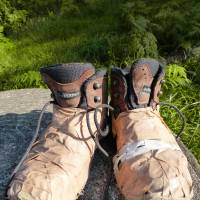 Taped up: A pair of broken boots, mended with heavy-duty tape by a worker on the mountain. | MANDY BARTOK
