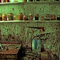 Blood-soaked mess: Someone needs to clean up room two in the 'Six Exits' house.   KIT NAGAMURA