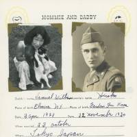 Trans-Pacific partnership: A page titled 'Mommie and Daddy' from a baby book Hiroko Tolbert made for her daughter, Kathryn, one of the filmmakers working on the 'Fall Seven Times, Get Up Eight: The Japanese War Brides' project. | COURTESY OF KATHRYN TOLBERT