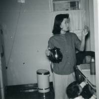 Hiroko gets used to the American kitchen, in Elmira, New York.