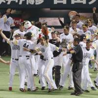 Mission accomplished: The Fukuoka Softbank Hawks celebrate the fruits of their labor, closing out the season with a Japan Series title by beating the Hanshin Tigers 1-0 in Game 5 on Thursday at Yafuoku Dome. | KYODO