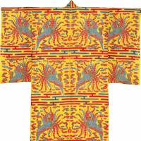 Bingata stencil-dyed robe with a design of phoenixes, clouds and mist on a yellow background, a National Treasure (18th-19th century, Naha City)  | AGENCY FOR CULTURAL AFFAIRS