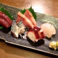 Autumn fish, such as buri (yellowtail) and sanma (saury), are both currently featured in the mixed sashimi plate at Nakamura Shokudo. | ROBBIE SWINNERTON